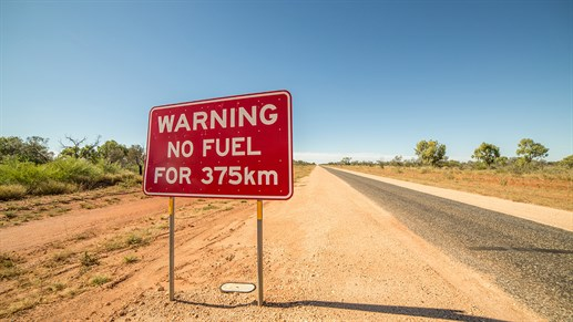 Australia no fuel sign
