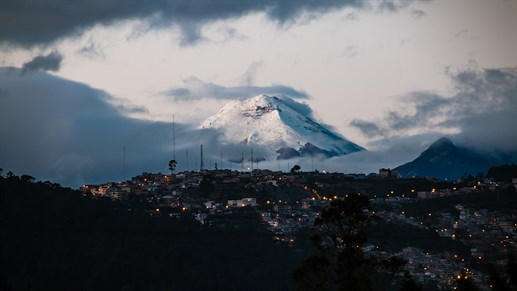 View on volcano Cotopaxi from Quito, Ecuador