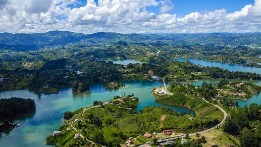 Panoramic View From Rock Of Guatape Medellin Colombia