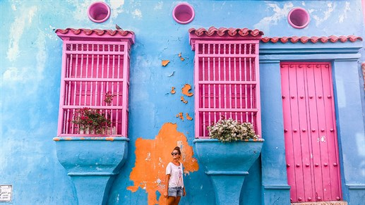 Colorful Walls In Cartagena Colombia